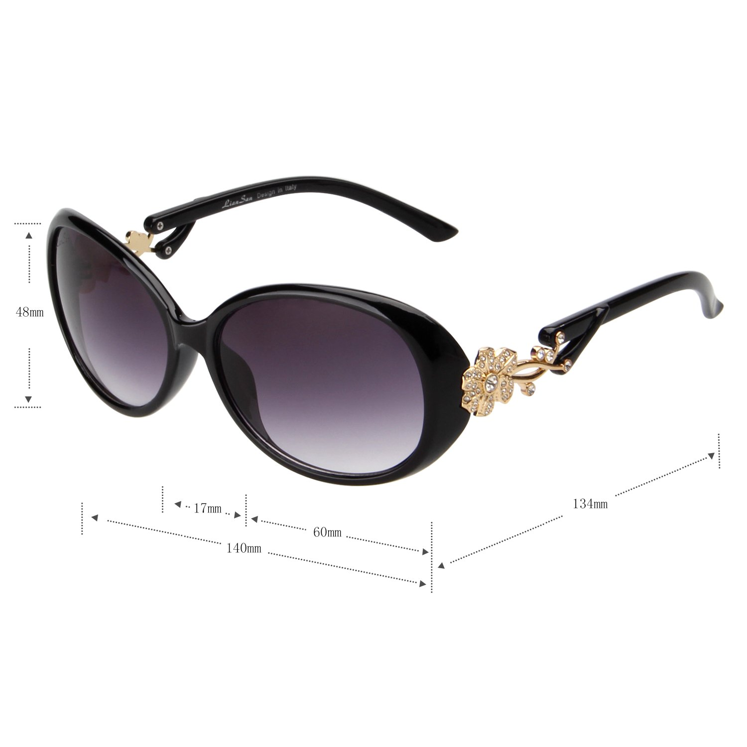 7baf46eae282c Amazon.com  LianSan Fashion Oversized Women Uv400 Protection Polarized Lady  Sunglasses Gold Flower Full Frame Sunglasses Gd103 (Black)  Shoes