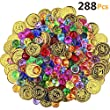 HEHALI 288 Pieces Pirate Toys Gold Coins and Pirate Gems Jewelery Playset, Treasure for Pirate Party (144 Coins+144 Gems)