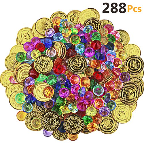 HEHALI 288 Pieces Pirate Toys Gold Coins and Pirate Gems Jewelery Playset, Treasure for Pirate Party (144 Coins+144 Gems)]()