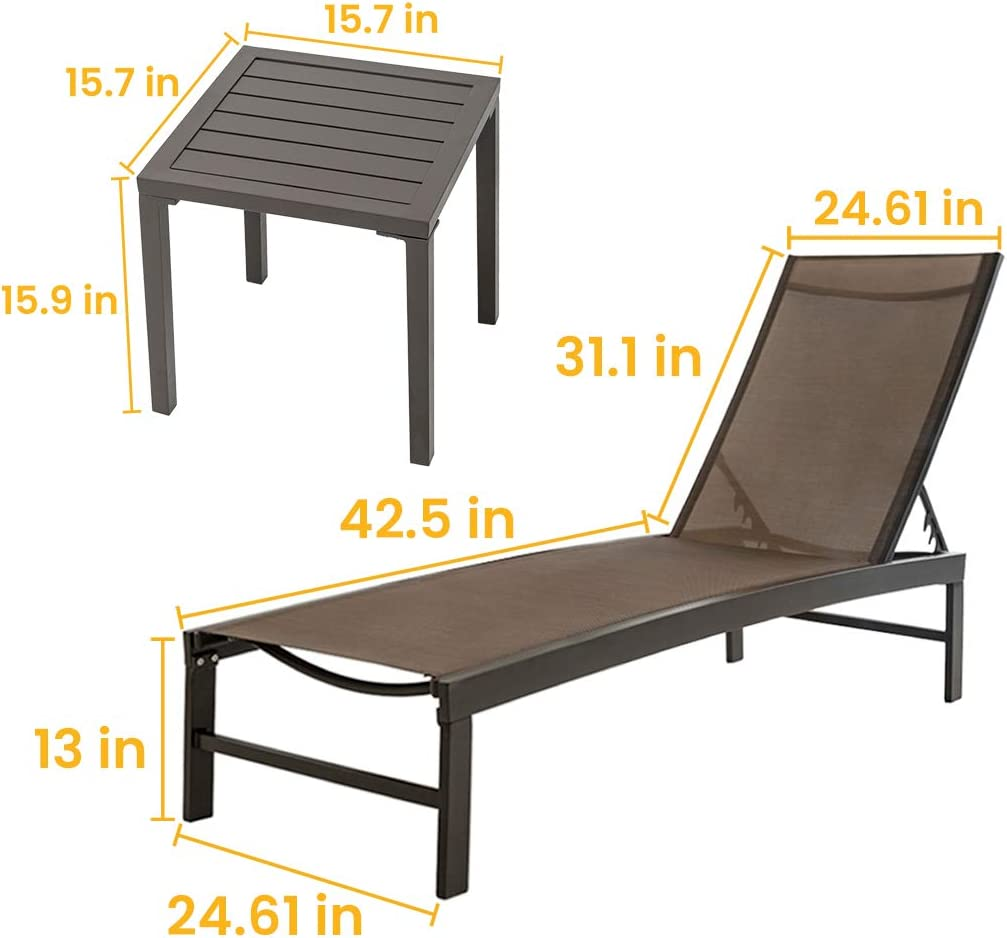 Beach Curved Design Crestlive Products Aluminum Adjustable Chaise Lounge Chair and Table Set Outdoor Five-Position Recliner Yard Brown All Weather for Patio Pool