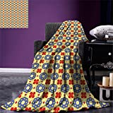 smallbeefly Geometric Digital Printing Blanket Arabian Civilizations Flowers with Vibrant Background Abstract Summer Quilt Comforter Yellow Vermilion Violet Blue