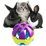 """Colorful Plastic Pet Toy Ball with Bell, Dog Cat Rabbit Bauble, 2.93""""x2.93""""x2.93"""""""