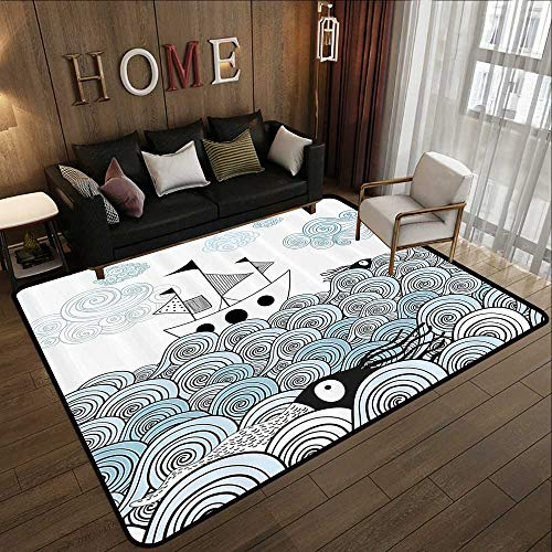 Modern Abstract Area Rug,Ocean,Sealife Sketchy Swirl Like Hand Drawn Waves and Boat Image,Baby Blue Light Blue White and Black 78.7
