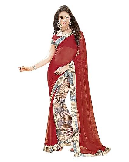 7677cb0da58 Navrang Women s Chiffon Self Print Red Saree  Amazon.in  Clothing    Accessories
