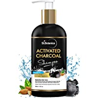 StBotanica Activated Charcoal Hair Shampoo, 300ml - No SLS/Sulphate, Paraben or Silicon - Refreshing Menthol, Organic Olive & Almond Oil, Vitamin B5, E, Oats & Silk Protein