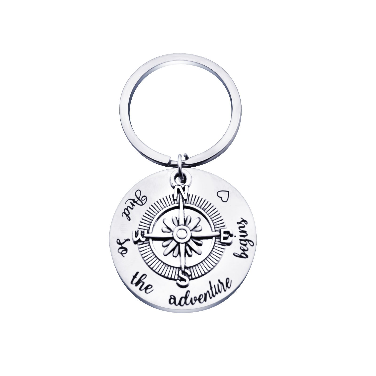 Back to School Gift and So The Adventure Begins Compass Keychain Inspirational Keychain Inspirational Jewelry Inspirational Gift for Women Birthday Gift for Daughter Retirement Gift(Adventure Begins)