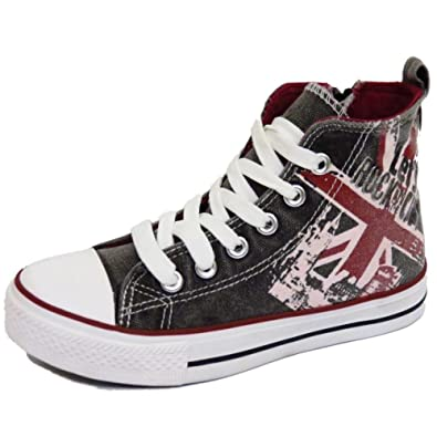 fbfbf16165 Boys Girls Kids Casual Canvas Hi-Top Baseball Boots Trainer Shoes Pumps  Size 12-5