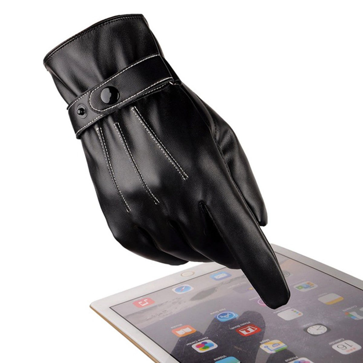 Outdoor Leather Gloves Warm Winter Mittens Touch Screen Gloves For Men