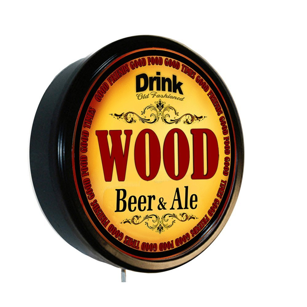 WOOD Beer and Ale Cerveza Lighted Wall Sign