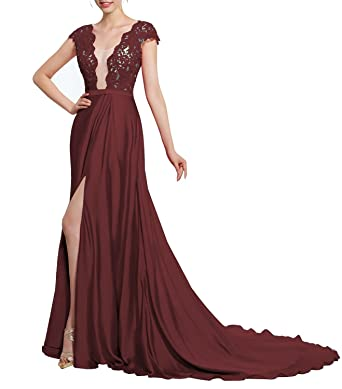 Long Prom Dresses with Slit V-Neck Lace Appliques Backless Formal Evening Gowns Burgundy Size