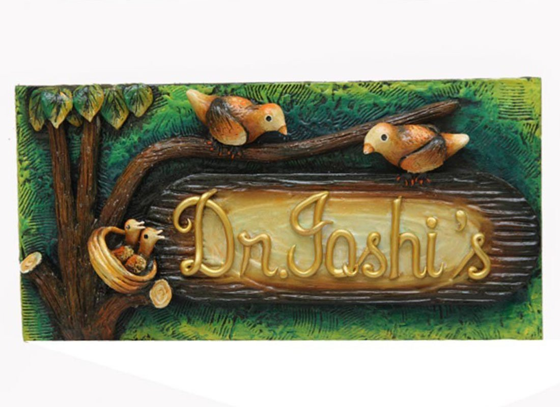 Craftedindia Hand-painted Textured Wooden Name Plate for Door by CraftedIndia