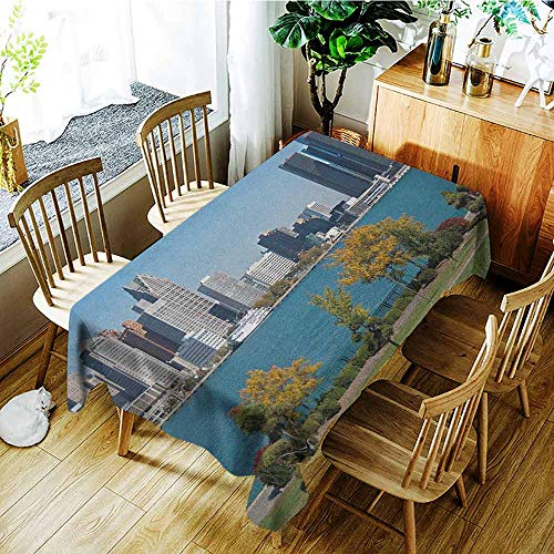 XXANS Fashions Rectangular Table Cloth,Detroit,Industrial City Center Shoreline River Scenic Panoramic View in a Sunny Day,Party Decorations Table Cover Cloth,W60X90L Blue Green -