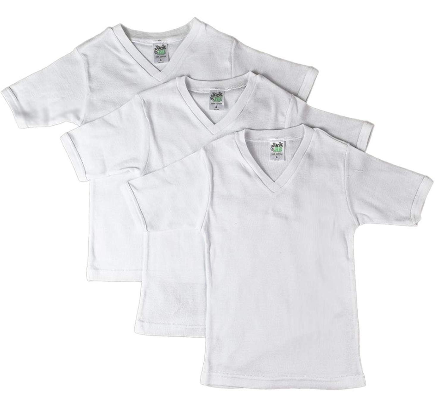 Jack 'n Jill Boys 100% Cotton V-neck T-shirt In Solid White (3 Pack) Size 16