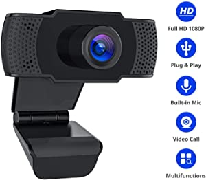 USB Webcam with Microphone 1080P Full HD Web Cam with Cover Streaming Webcams Plug and Play Drive-Free USB Camera for Computers Laptop Desktop for YouTube Compatible with Windows 7/8/10 Webcam-1