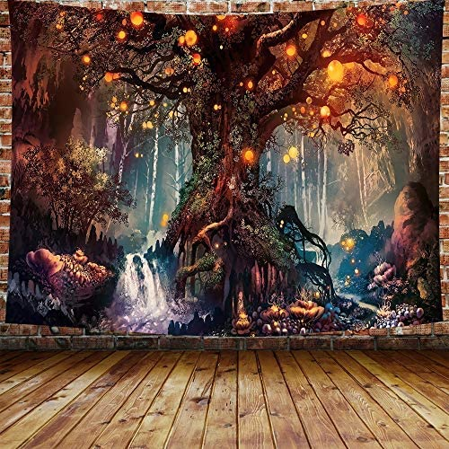 DBLLF Fantasy Plant Magical Forest Tapestry Fantasy Forest Wall Tapestry A Large Life Tree in Forest with River Bedroom Living Room 80 60 Inches DBZY0425