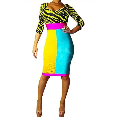 Patchwork Women Long Sleeve Stretch Bodycon O-Neck Zebra Print Sheath Dress