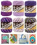 Variety Assortment Lily Sugar'n Cream Yarn 100 Percent Cotton Solids and Ombres (6-Pack) Medium Number 4 Worsted Bundle with 4 Patterns (Asst 32)