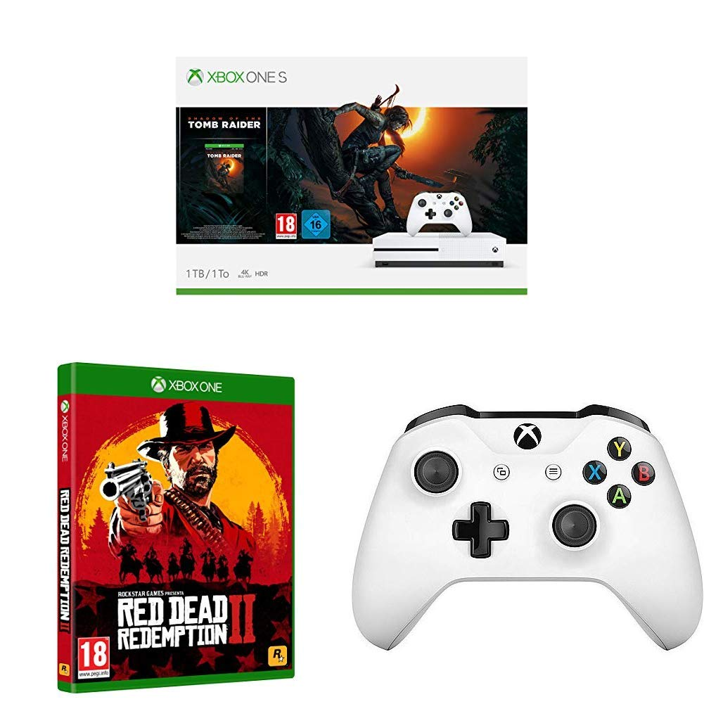 Microsoft Xbox One S-Consola 1 TB+Shadow Of The Tomb Raider + Red Dead Redemption 2 (Xbox One) + Microsoft Xbox Wireless Controller Blanco Gamepad PC, Xbox One S - Volante/mando: Amazon.es: Videojuegos