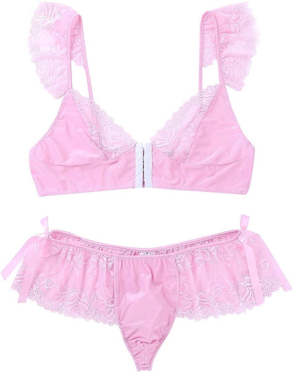 inlzdz Mens Lingerie Set Sheer Lace Puff Sleeves Bikini Bra Tops Sissy Pouch Panties Underwear