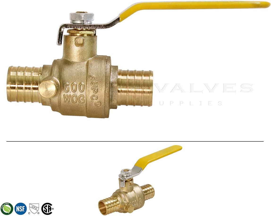 1//2 MIDLINE VALVE 607Q034-4 Full Port x PEX Barb Ball Valve Water Shut Off with Drain Brass Pack of 2}