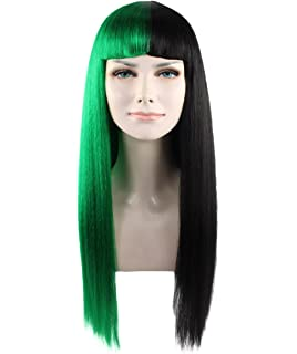 Green And Black Fashionable Fancy Dress Wig HW1082