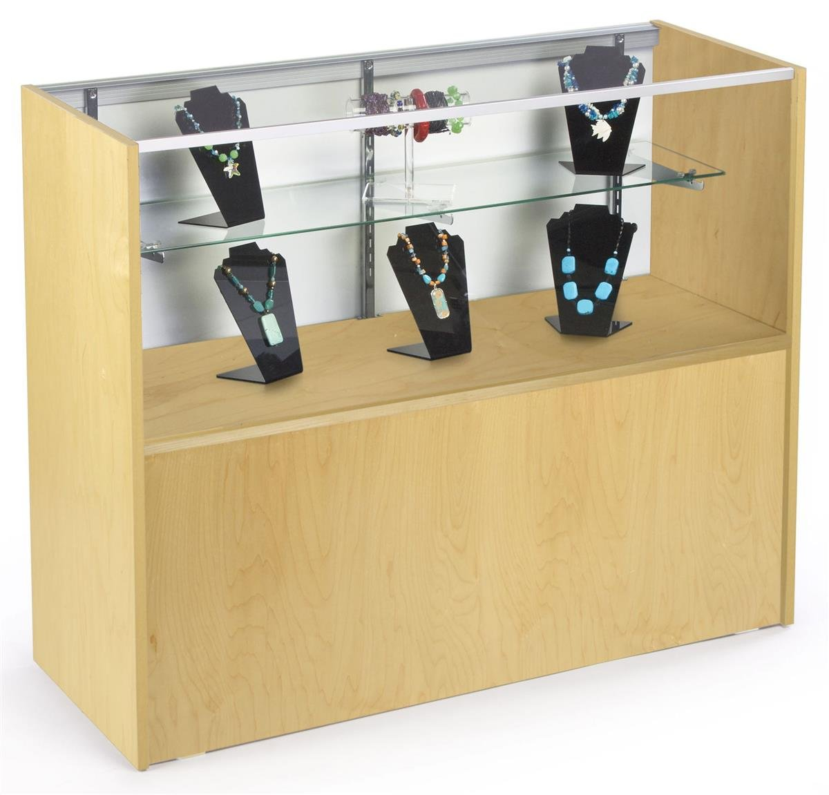 Maple Melamine Finish Retail Display Case with Tempered Glass, Hidden Storage Area and Sliding Doors, 48 x 38 x 18-Inch by Displays2go (Image #1)