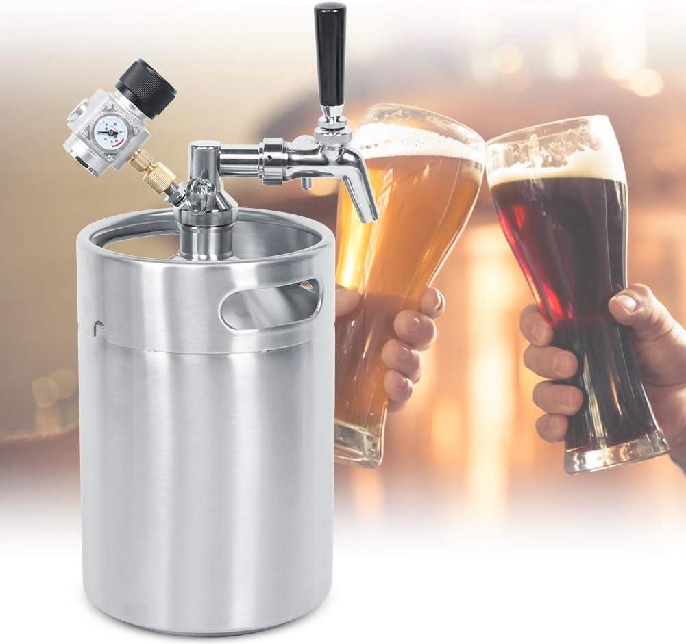 Sistema de barril de cerveza de 5L, conjunto de barril de cerveza de acero inoxidable Barril de cerveza Lanza de grifo ajustable Medidor de presión constante de clase 2, para cerveza artesanal, Homebr