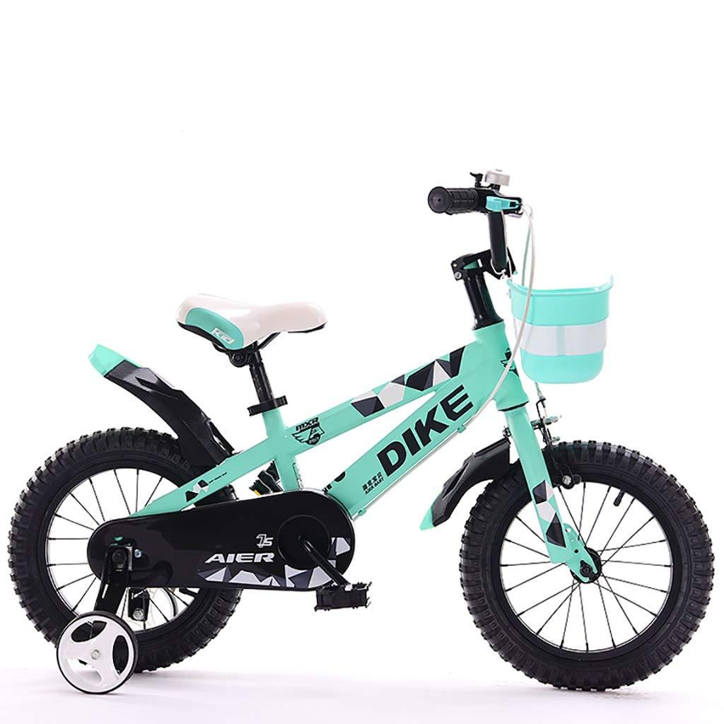 丈夫 37歳の男の子と女の子に適した子供用自転車、ダブルディスクブレーキ、安全な操作(バスケット付) (色 : 緑, サイズ さいず : 14inch) 14inch 緑 B07RJMZGF1
