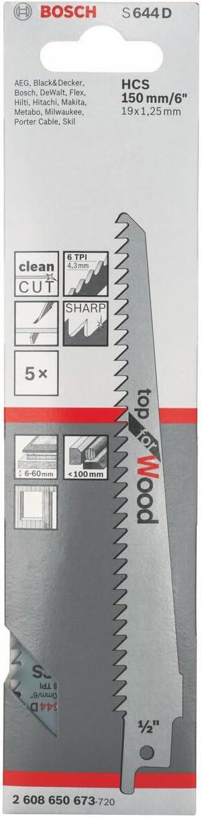 Holz 2608650673 Säbelsäge Sägeblatt Bosch 5 Säbelsägeblätter S 644 D S644D f