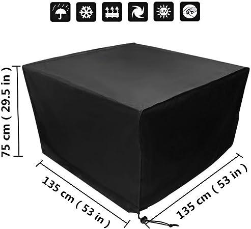 Xiliy Funda para Muebles de Jardín Impermeable Funda para Mesa para Mobiliario de Exterior Mesa 135 x 135 x 75 cm: Amazon.es: Jardín