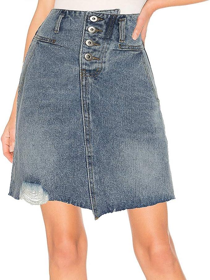 kefirlily Falda Vaquero Mujer Vintage Cintura Alta Falda Jeans A ...
