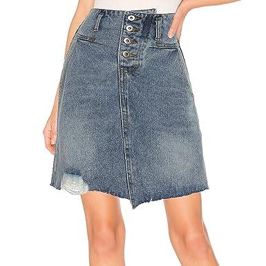 6cf5c5d1310eaf kefirlily Femme Jupe en Jean Sexy Taille Haute Mini Jupe Trapèze ...
