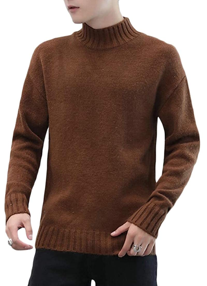 Generic Mens Slim Fit Casual Solid Knitted Base Turtleneck Pullover Sweaters