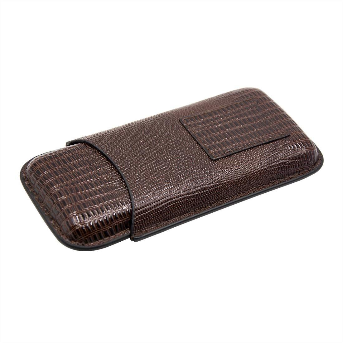 Klerokoh Klerokoh Klerokoh Estuche de Cuero para cigarros de Viaje, humidificador de cigarros para 3 Tubos (marrón) 4650ee