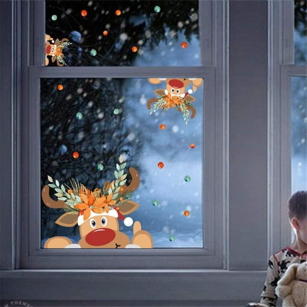 ZRSCL Dibujos animados renos pegatinas de ventana Navidad alces ...