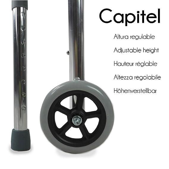 Mobiclinic Andador caminador con 2 Ruedas | Regulable en Altura, acompaña el Movimiento | De Aluminio | Mod. Capitel: Amazon.es: Hogar