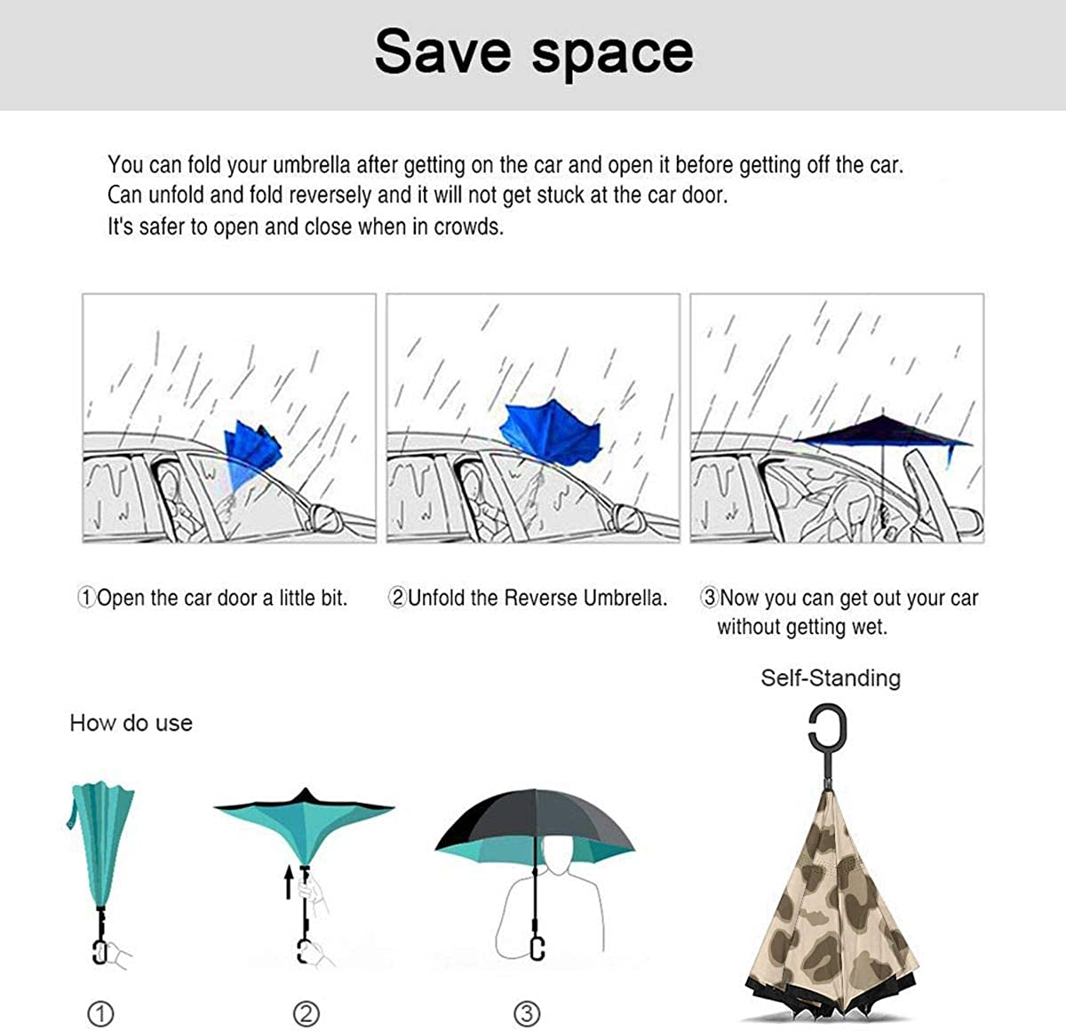 Reverse Umbrella Double Layer Inverted Umbrellas For Car Rain Outdoor With C-Shaped Handle Light Leopard Customized