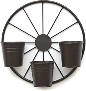 The Lakeside Collection Metal Wagon Wheel Garden Planter for Outdoors - Outdoor Fence Accent