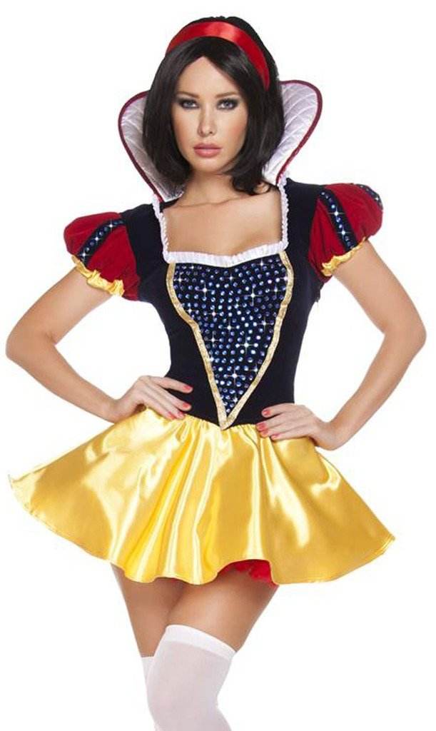 Rhinestone Snow White Halloween Costume - Blue/Red/Yellow - Medium