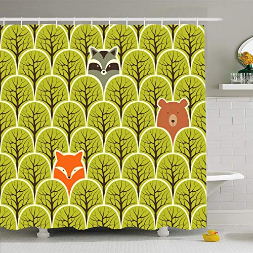 Ahawoso Shower Curtain 72 x 72 Inches Greeting Gray Baby Raccoon Fox Bear Forest Red Pattern Green Cute Ellipse Nature Arts Design Waterproof Polyester Fabric Bathroom Set with Hooks