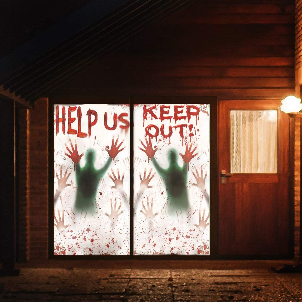 Leaflai 2PCS Halloween Giant Bloody Window Posters Halloween Window Stickers for Halloween Party Decoration