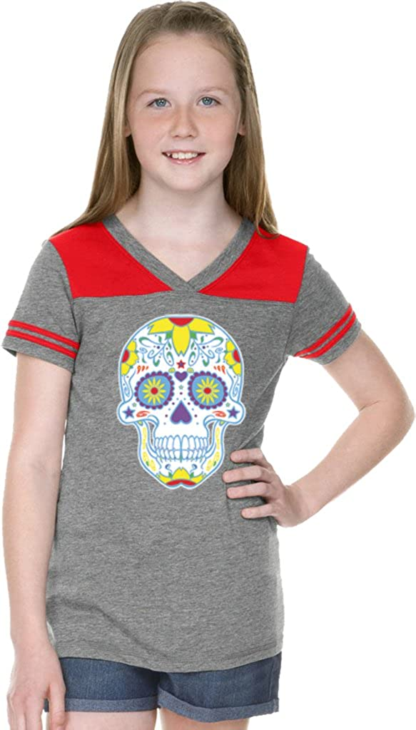 0275a7a7 Amazon.com: Buy Cool Shirts Girls Day of the Dead T-shirt Neon Sugar Skull  Football Tee: Clothing