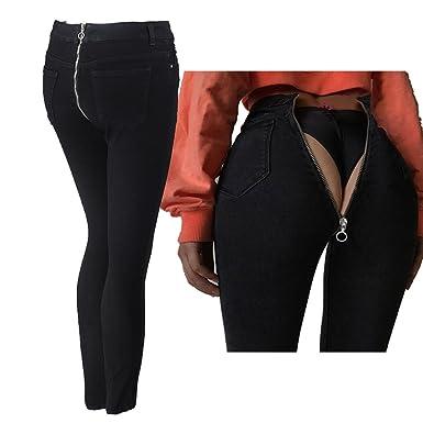 tout neuf acheter bien taille 40 Hibote Jeans Femme Droit Denim Pantalon Taille Haute Stretch ...