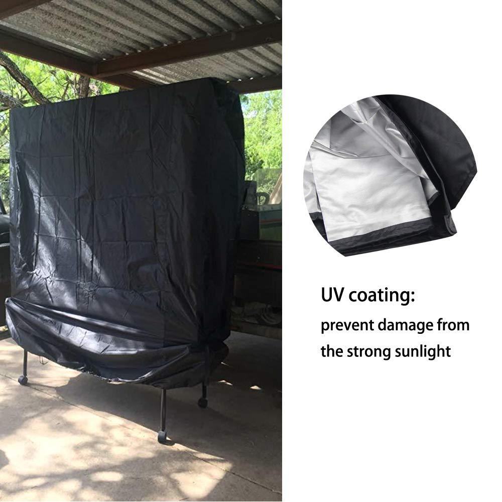 SIRUITON Copertura per Tavolo da Ping Pong Esterno Giardino Protettiva Impermeabile Cover Resistente Vento Sbiadire Strappando Nero