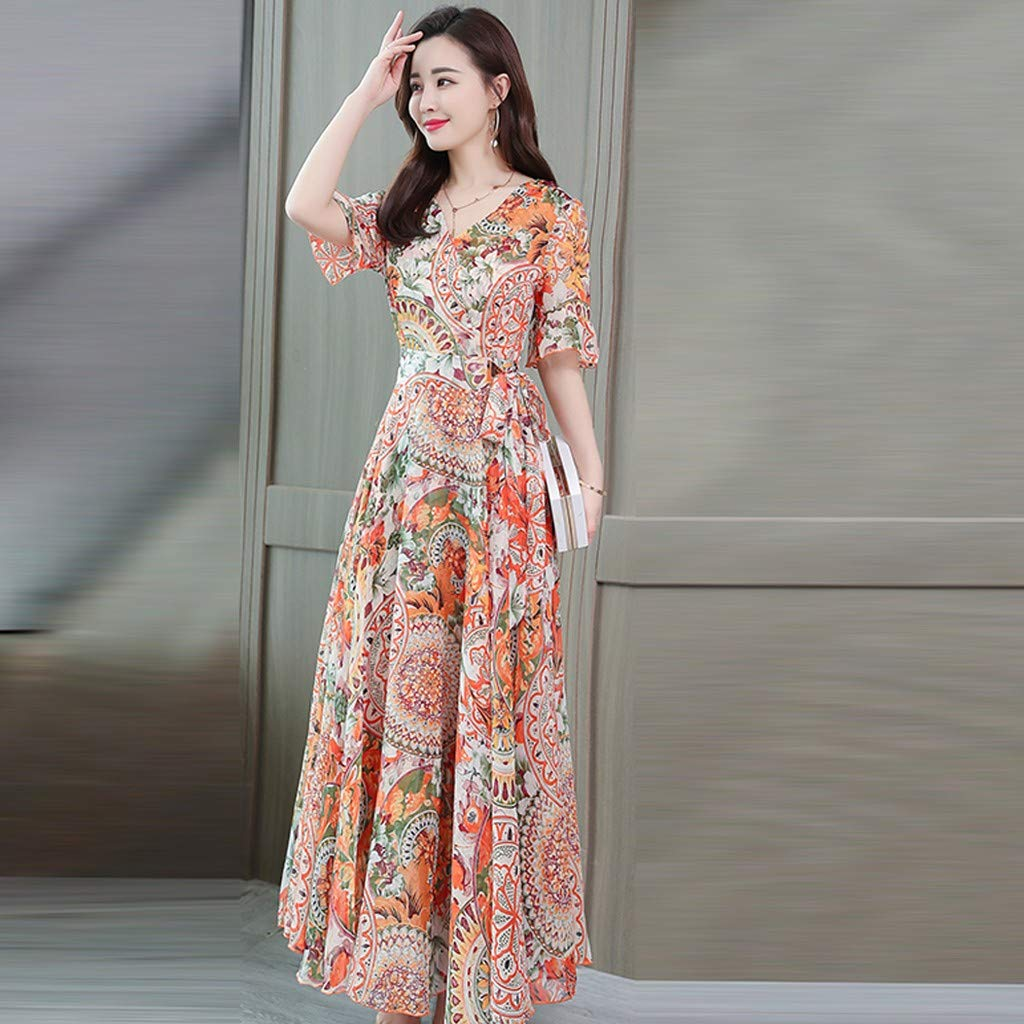 HCFKJ Robe Ete Femme Robe Mi-Mollet Imprim/éE Mode /à Manches Courtes /à Col en V D/éT/é pour Femmes