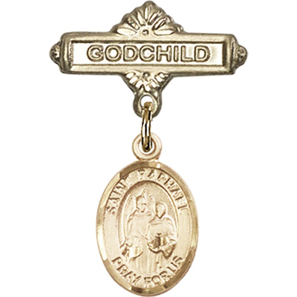 14kt Yellow Gold Baby Badge with St. Raphael the Archangel Charm and Godchild Badge Pin 1 X 5/8 inches