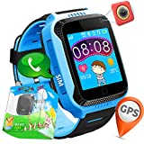 "TURNMEON 1.44"" Touch GPS Tracker Smart Watch Phone for Easter Kids Boys Girls Gifts with SIM Solt Pedometer SOS Camera Bracelet Smartwatch Children Fitness Tracker Toys (Blue)"