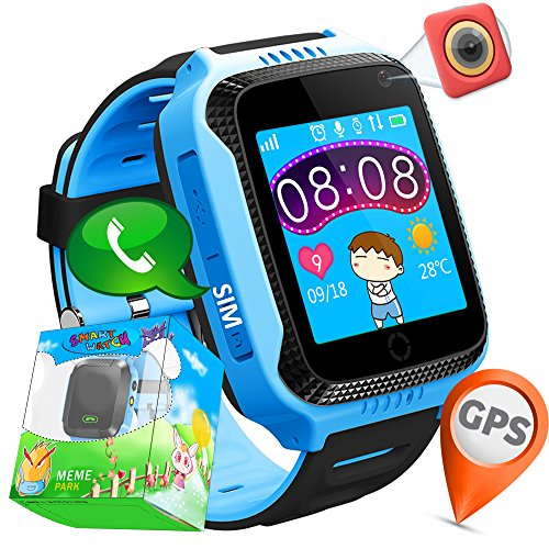 "TURNMEON 1.44""GPS Tracker Smart Watch Phone for Kids with SIM Solt Pedometer SOS Camera Smart Bracelet Smartwatch Boys Girls Children Halloween Cybery Monday Holiday Fitness Tracker Toy (BlueBlack)"