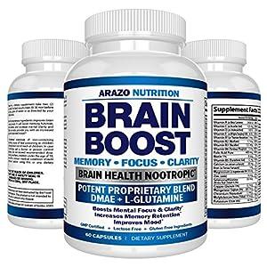 61 e03m5LrL. SS300  - Premium Brain Function Supplement - Memory, Focus, Clarity - Nootropic Booster with DMAE, Bacopa Monnieri, L-Glutamine, Vitamins, Minerals - Arazo Nutrition