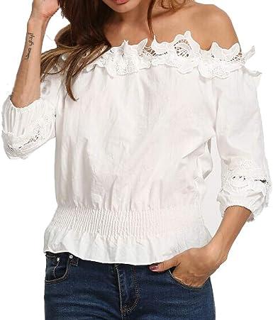FAMILIZO_Camisetas Mujer Tallas Grandes Verano Originales Blusa Mujer Elegante Manga Largo Sin Hombros Algodón Otoño Fiesta Camisas Corto T Shirt Women Tops Invierno: Amazon.es: Ropa y accesorios